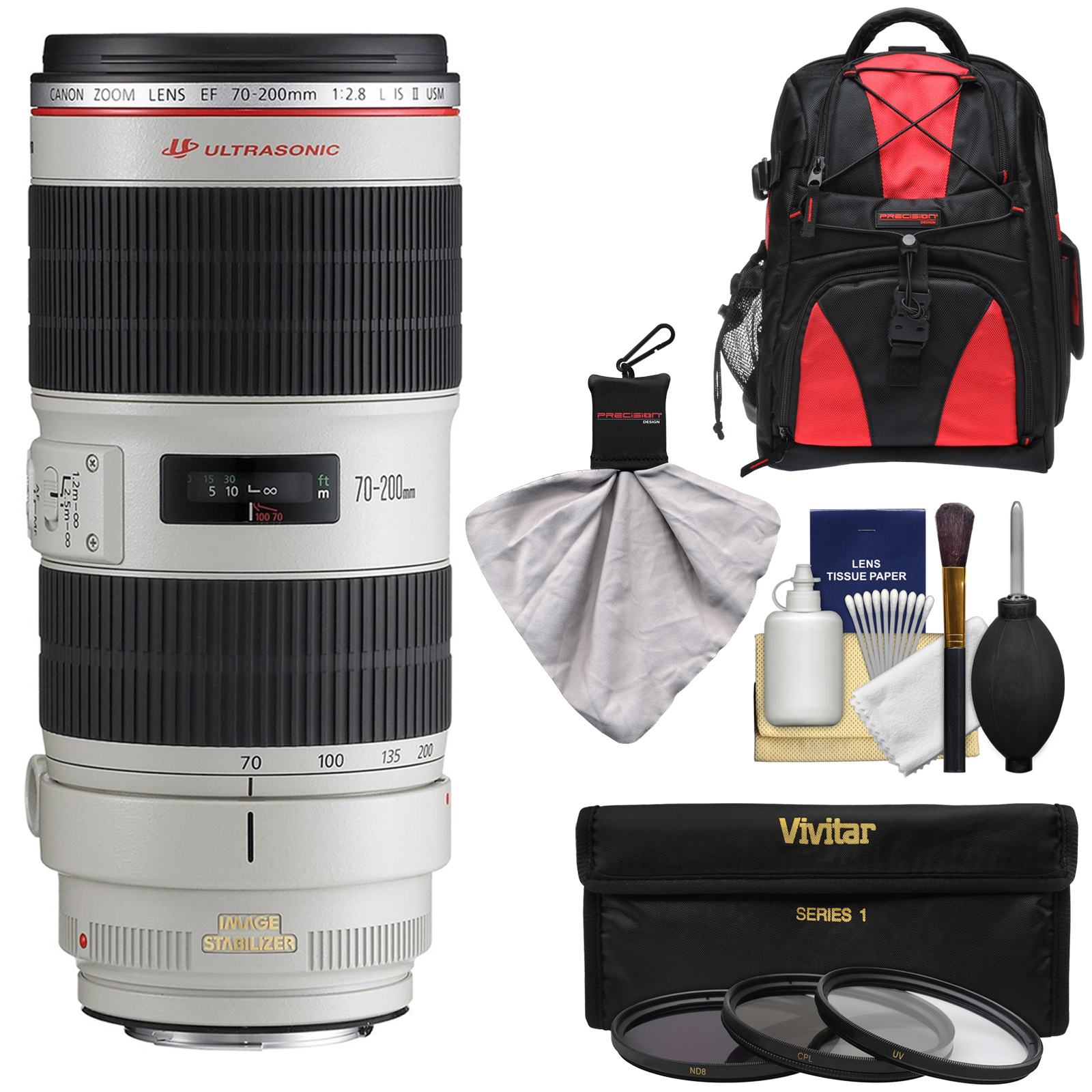 Click here to buy Canon EF 70-200mm f 2.8 L IS II USM Zoom Lens with Backpack + 3 Filters + Kit for EOS 6D, 70D, 7D, 5DS, 5D... by Canon.