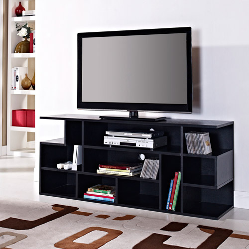 "Mod Style Wood TV Stand for TVs up to 65"", Black"