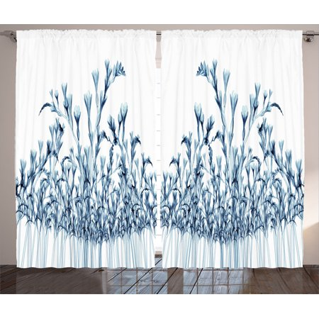 Xray Flower Decor Curtains 2 Panels Set, Various Sized Flowers In Nature Bottom To Top X-Ray Image Creative Decorative Art, Living Room Bedroom Accessories, By Ambesonne ()