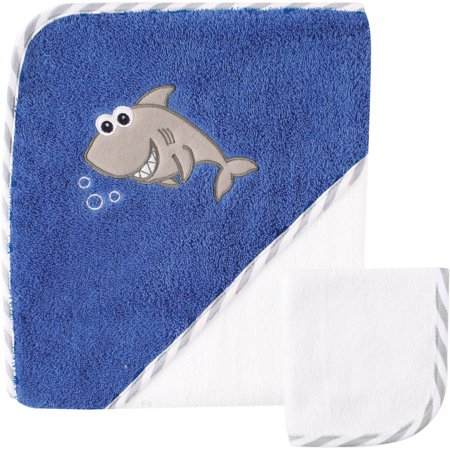 Luvable Friends Baby Woven Hooded Towel with Washcloth, Shark (Flower Hooded Towel)