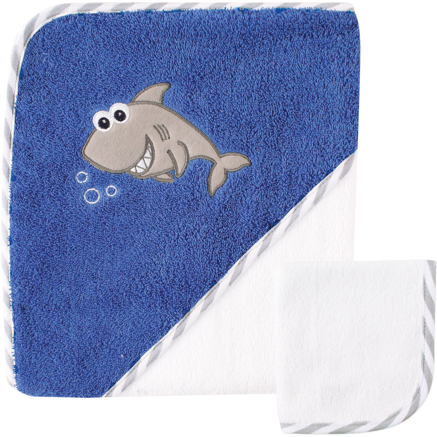 Luvable Friends Baby Woven Hooded Towel with Washcloth, Shark
