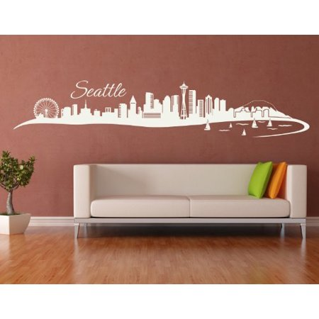 Seattle City Skyline Wall Decal - cityscape wall decal, sticker, mural vinyl art home decor - 4200 - White, 31in x 6in