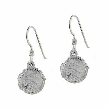 Sterling Silver Etched Vintage Design Circle Locket Earrings