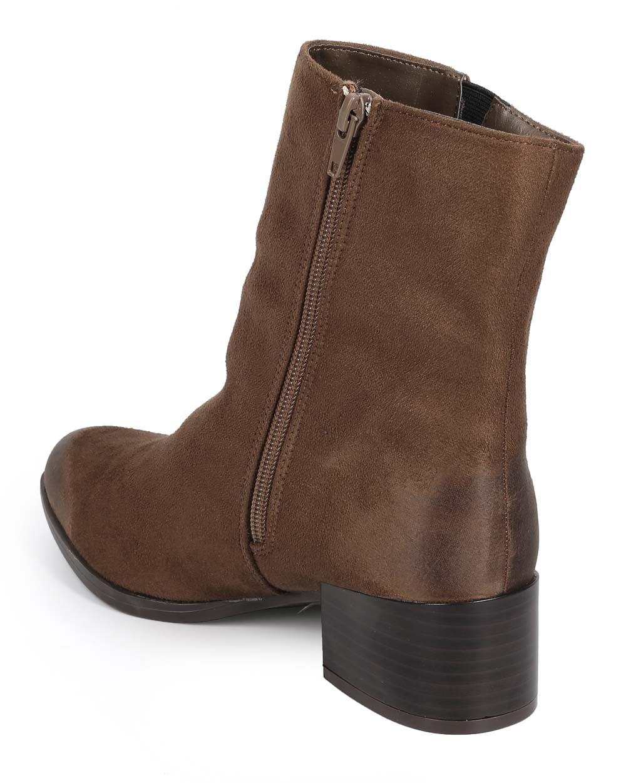 Qupid DC89 Women Suede Pointy Toe Block Heel Zip Chelsea Boot