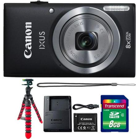 Canon Powershot Ixus 185 / ELPH 180 20MP Compact Digital Camera Black with 8GB Memory Card and Flexible Tripod