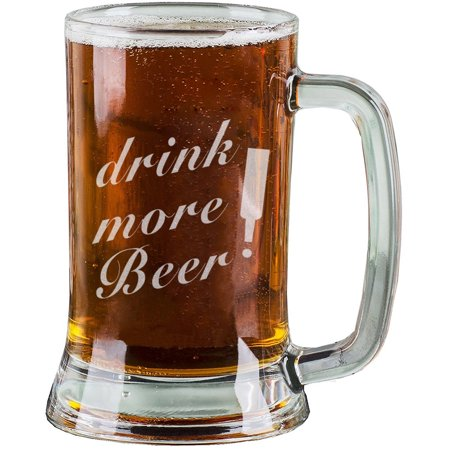 16 Oz Personalised Pint Beer Glasses Etched Mug Engraved with drink more Beer! Funny Beer Glasses for Dad Gift