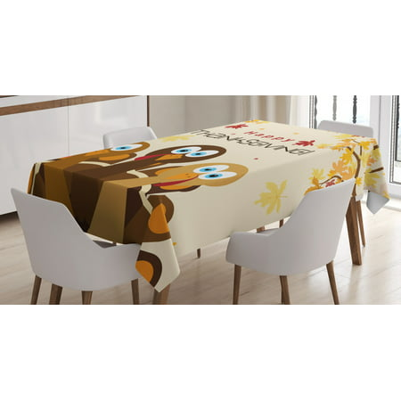 Turkey Tablecloth, Happy Thanksgiving with Falling Leaves and Poultry Birds Harvest Time Celebration, Rectangular Table Cover for Dining Room Kitchen, 60 X 84 Inches, Multicolor, by Ambesonne ()