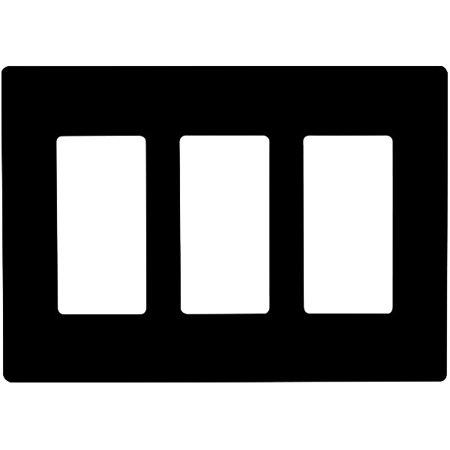enerlites si8833-bk, decorator 3 gang wall plate, screwless, black
