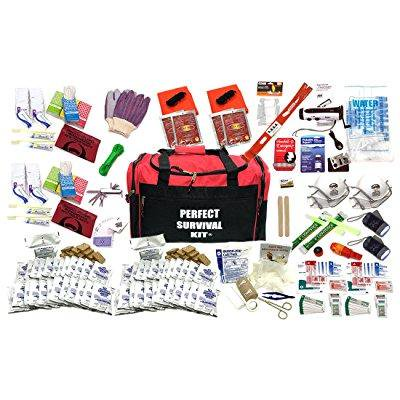 4 person perfect survival kit deluxe - prepare for earthquake, evacuation, emergency disaster preparedness 72-hour kits for home, work, or (Best Earthquake Preparedness Kit)