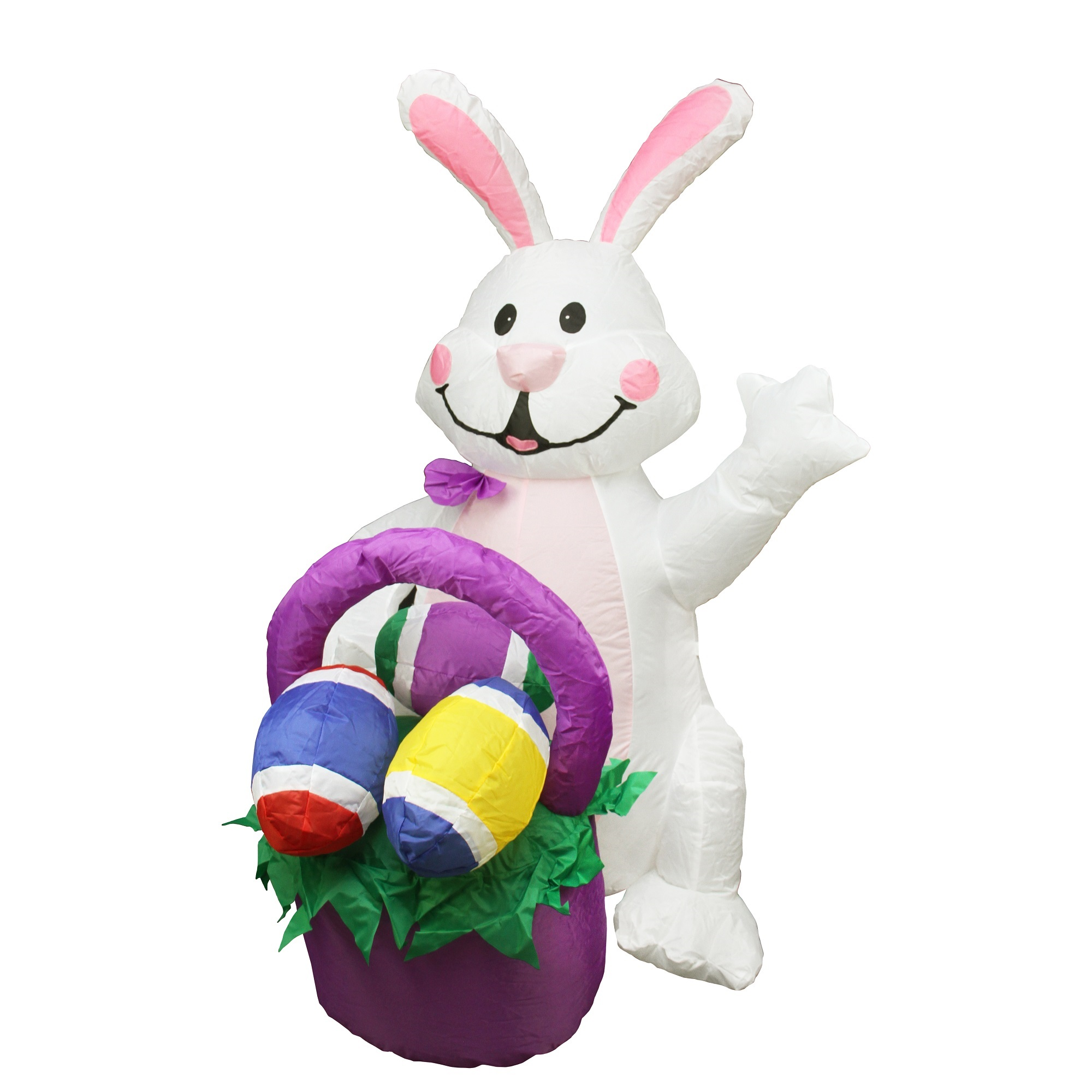 4' Inflatable Lighted Easter Bunny with Basket Yard Art Decoration