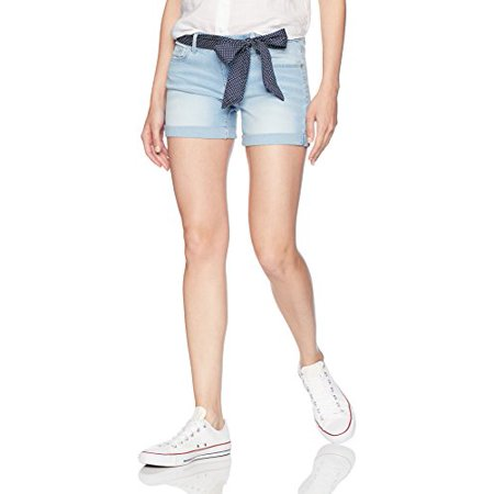 U.S. Polo Assn. Women's Belted Stretch Denim 5 Pocket Short, Light Indigo, (Belted Tweed Belt)
