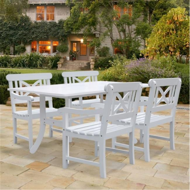 Vifah V1337SET8 Bradley Rectangular and Curved Leg Table & Armchair Outdoor Wood Dining Set