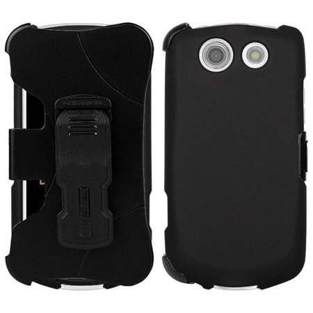 BRIGADIER E6782 CLIP CASE, NEW BLACK RUBBERIZED HARD SHELL CASE COVER + BELT CLIP HOLSTER + SCREEN PROTECTOR FOR VERIZON KYOCERA BRIGADIER E6782 (Kyocera Black Faceplates)