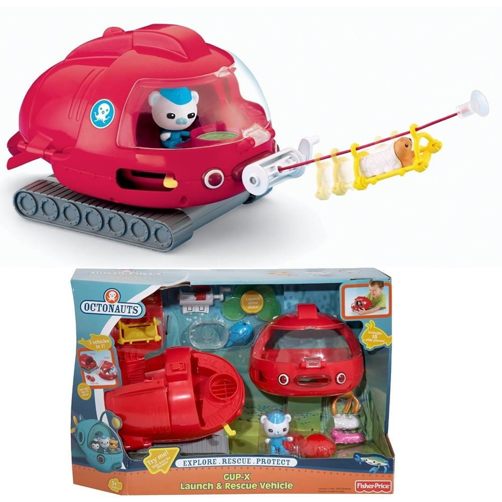 Octonauts GUP-X Launch & Rescue Vehicle Fisher-Price Octo Tank Glider Ski Transform 3-in-1 Mission Explore Protect Red W3146
