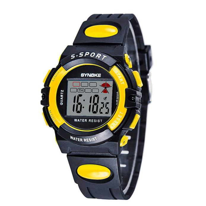 iLH Mallroom SYNOKE Child Boy Girl Waterproof Sport LED Digital Wrist Watch Yellow