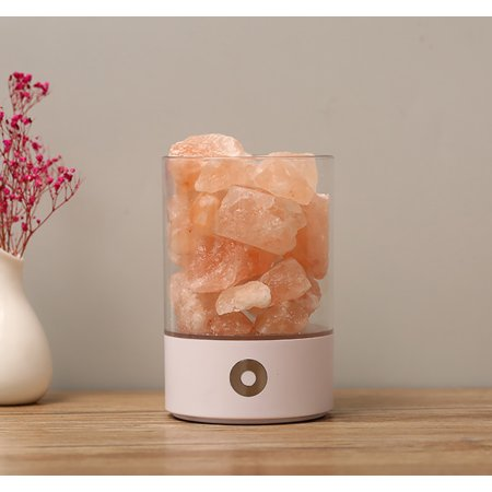 Natural Himalayan Salt Lamp, USB sea salt lamp, rock salt lamp, Crystal Night Light for Home, Office Relieve Fatigue, Touch Dimmer Switch And 3.9Ft Power Cord, White - Crystal Rock Office