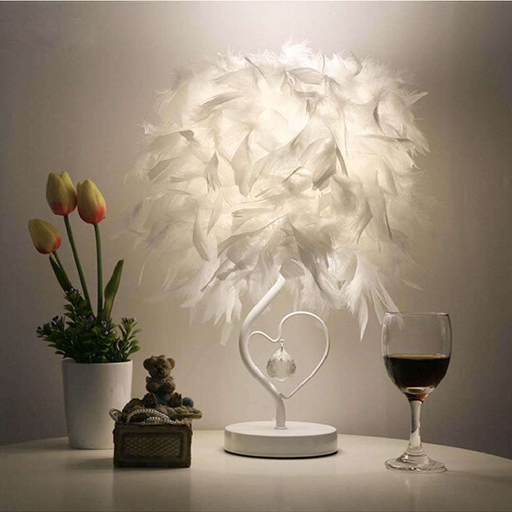 A Feather lamp,White Beside Table lamp for Bedroom,Children,Wedding,Birthday,Vintage Deco Desk Light