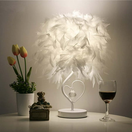 Surpars House Heart Shape White Feather Deco Table Lamp Crystal Bedside Table Lamp ()
