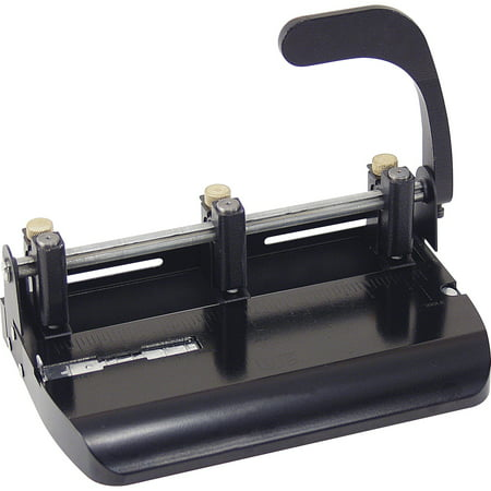 Officemate OIC Heavy Duty Adjustable 2-3 Hole Punch with Lever Handle, Black (4 Hole Heavy Duty Punch)