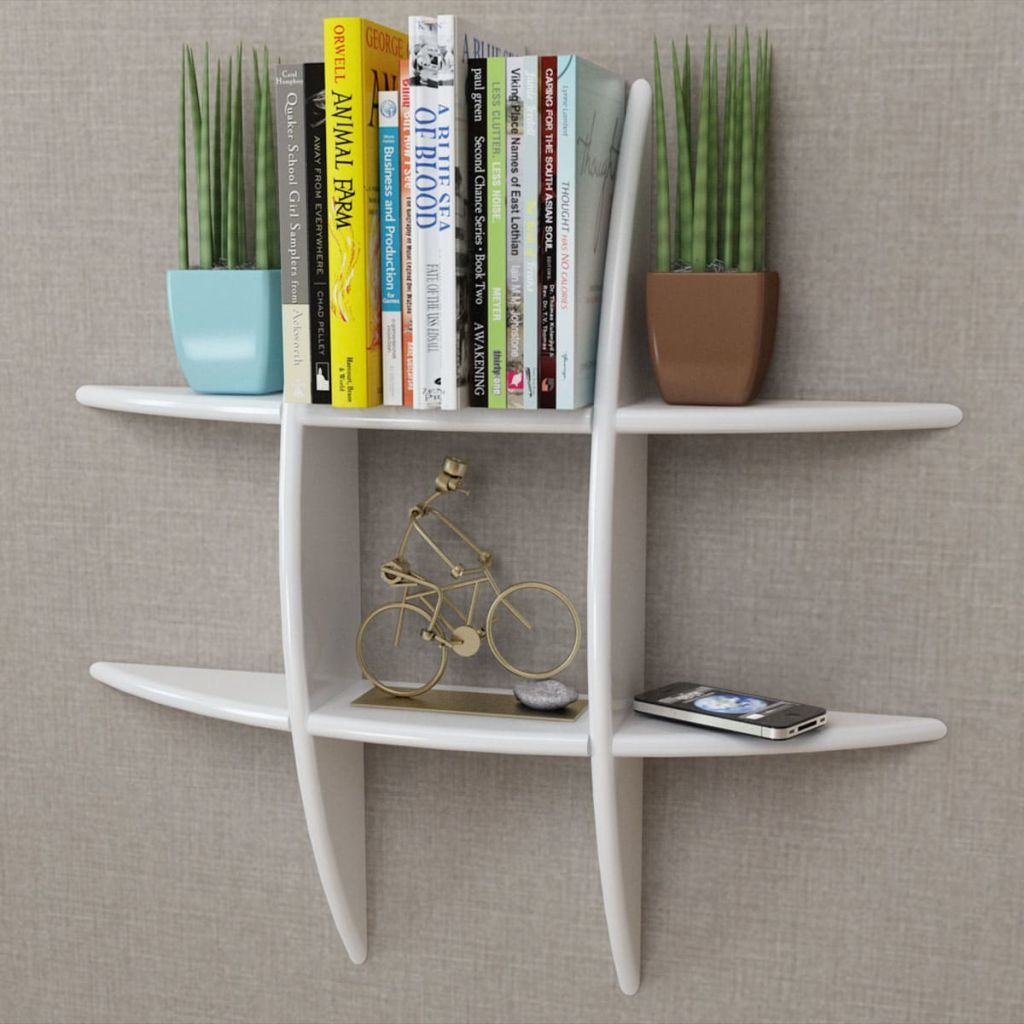vidaXL White MDF Floating Wall Display Shelf Book/DVD Storage