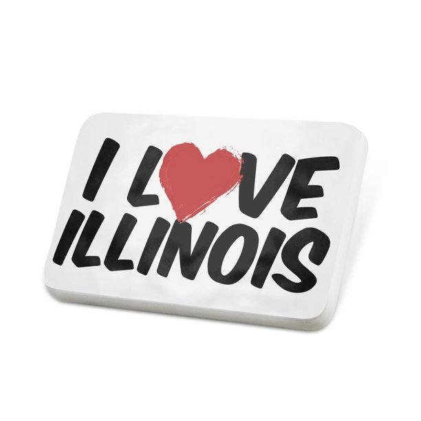 Porcelein Pin I Love Illinois Lapel Badge – NEONBLOND