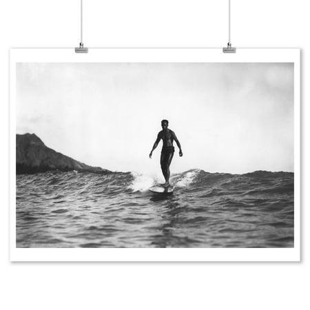Surfing in Honolulu Hawaii Longboard Surfer - Vintage Photograph (9x12 Art Print, Wall Decor Travel (Hawaiian Board)
