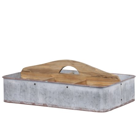 Urban Trends Collection: Metal Caddy Galvanized Finish Gray