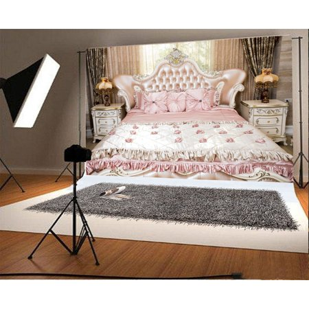 Mohome Polyster 7x5ft Bedroom Backdrop Fancy Sofa Pink Bed Headboard Lamps Curtain European Archiculture Wedding