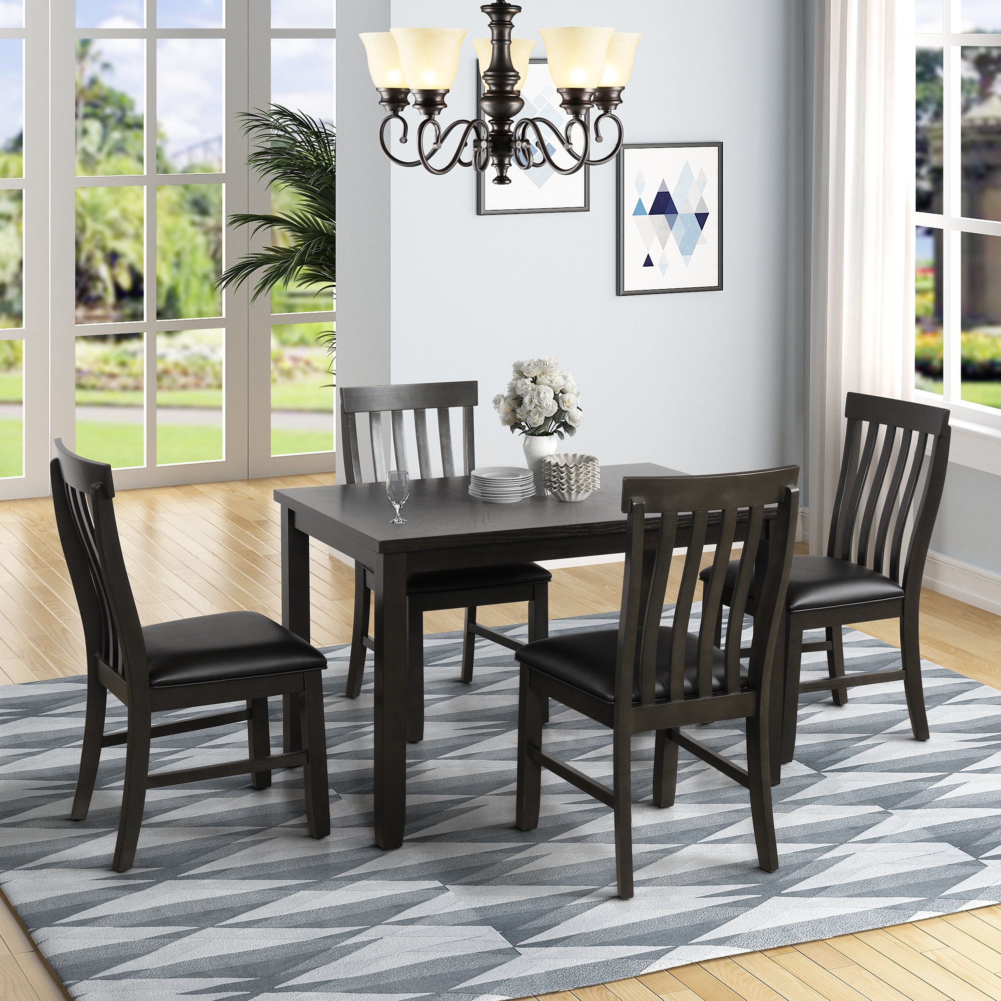 Clearance! Kitchen Dining Table Set, 5 Piece Rectangular ...