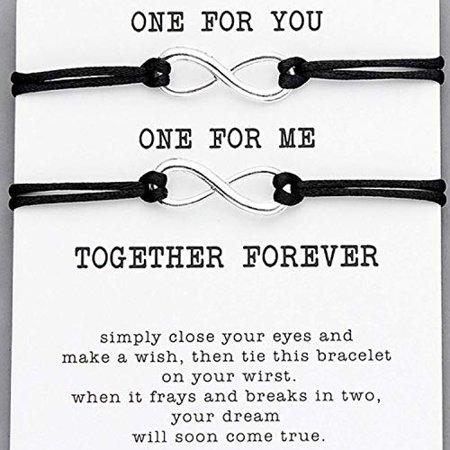Cool String Bracelets (Maya's Grace 2pcs Set Couple Bracelet Infinity Lovers Together Forever Love String)