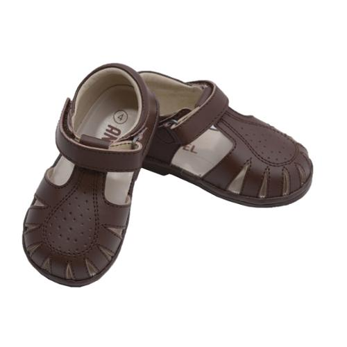 Angel Baby Boys Brown Perforated Closed Sandals Shoes 1 3
