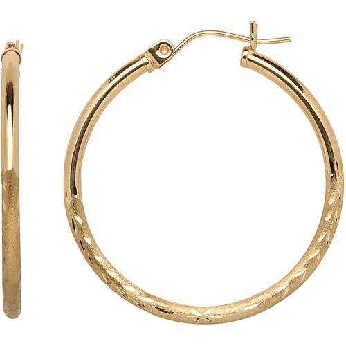 Just Gold Etched 30 mm Hoop Earrings in 10kt Gold