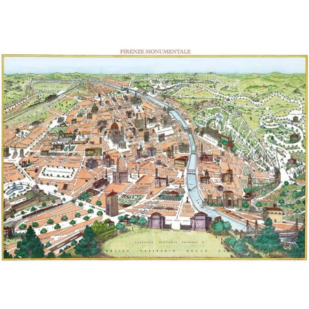 Firenze Monumentale- Antique Map Of Florence Poster - 28x19.5 - Florence Antique Mall
