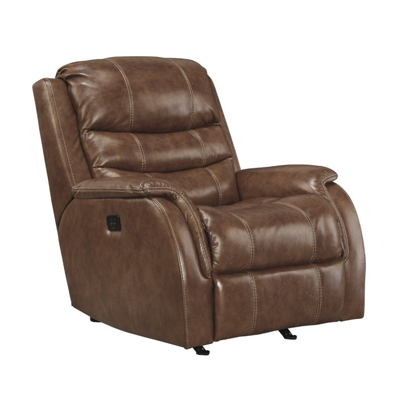 Ashley Metcalf Leather Power Rocker Recliner in Nutmeg by Ashley Furniture