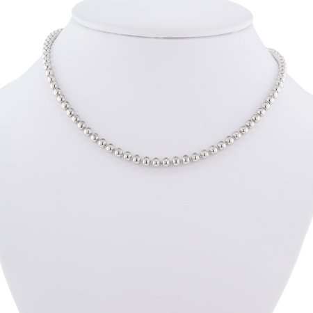 Pre-Owned 18K White Gold Cartier Diamond Tennis Ladies Necklace Bead Bezels Style 4.26Cttw