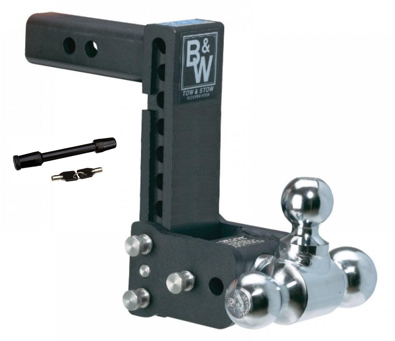 B/&W Hitches TS20037B 5 Drop /& 4-1//2 Rise Ball Mount w//2 x 2-5//16 Dual Ball and 5//8 Black Receiver Hitch Lock Bundle