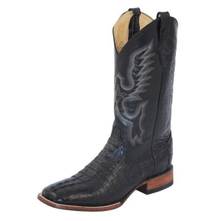 Ferrini Western Boots Mens Cowboy Caiman Head S Toe Black 10493-04