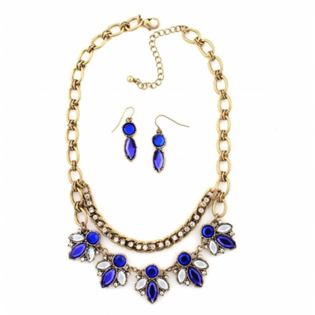 Eshopo 0800000079071 Gold-Tone Metal Aqua Blue Crystal Necklace And Earring Set