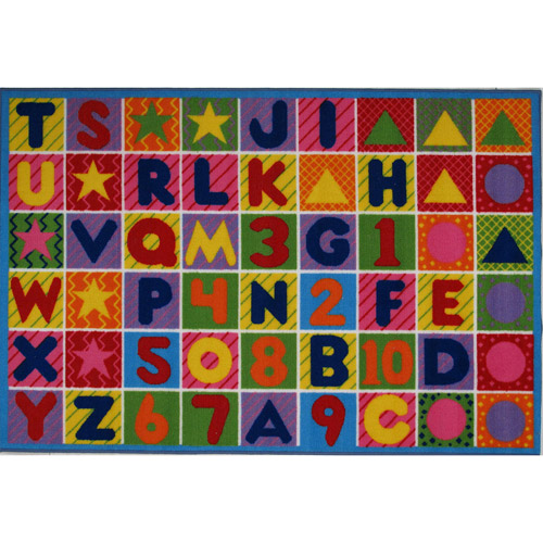 "Fun Rugs Numbers and Letters Kids' Rug, Multi-Color, 7'3"" x 11'"