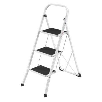 VonHaus Steel Folding Portable 3 Step Ladder