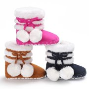 eb58345dae85a4 Lovely Pompom Design Baby Girl Warm Boots Snow Slippers Infant Toddler  Winter Shoes 1pcs