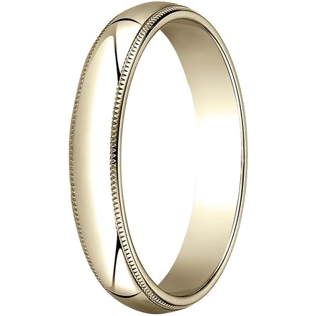 Mens 10K Yellow Gold, 4.0mm Traditional Dome Oval Wedding Band with Milgrain