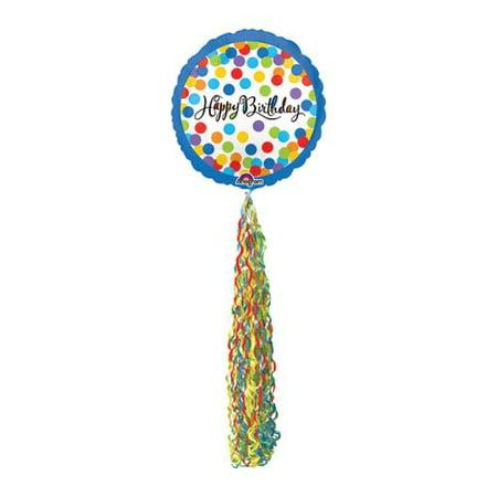 Happy Birthday Streamer AirWalker Foil Balloon](Balloons And Streamers)