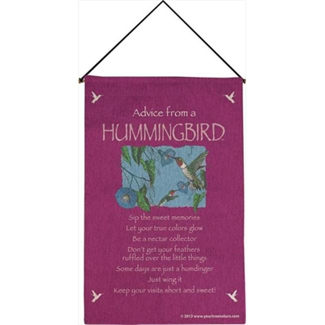 Manual Woodworkers and Weavers HWAHBRD Advice From A Hummingbird Tapestry Wall Hanging Vertical 17 X 26 inch