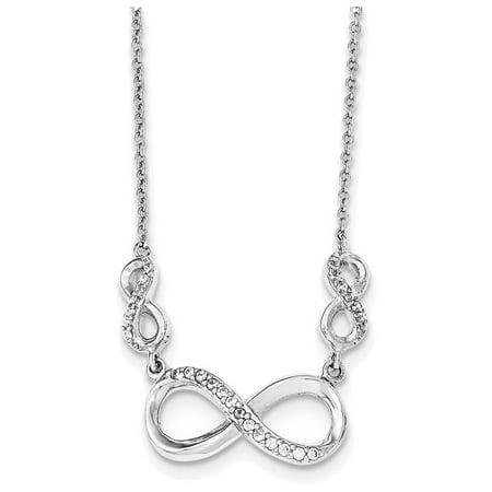Sterling Silver Polished CZ Infinity Symbol Necklace
