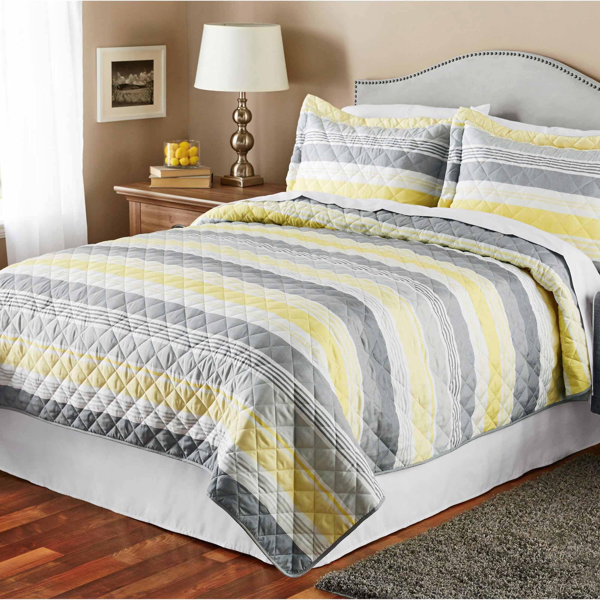 Mainstays Grey Stripe Quilt - Walmart.com : yellow and gray quilt - Adamdwight.com