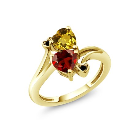 1.63 Ct Heart Shape Yellow Citrine Red Garnet 18K Yellow Gold Plated Silver Ring