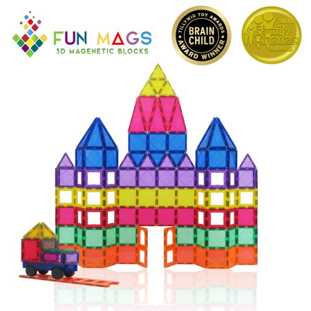Fun Mags Magnetic Blocks 100-Piece Set 3D Magnetic Building Blocks, STEM Educational Magnetic Tiles Magna Magnet Toys for Kids, Toddlers (Magnetic Blocks For Toddlers)