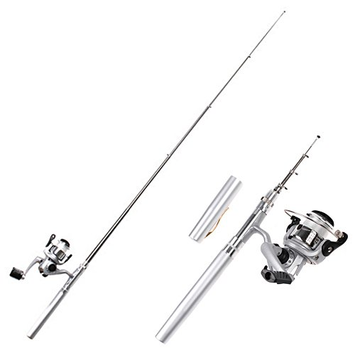 HDE Pocket Size Pen Shaped Collapsible Fishing Rod Pole and Spinning Reel Combo by
