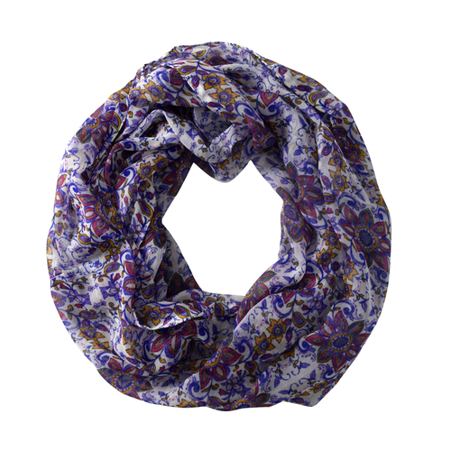Peach Couture Light Weight Trendy Floral Print Infinity Loop Circle Scarf Purple
